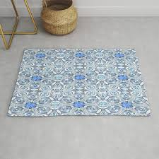 blue white and grey structured fl geometric rug