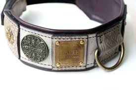 dog collar name plate leather with nameplate hand crafted by work gold plated dog collar name plate braided leather