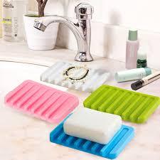 1Pc <b>Bathroom Accessories Silicone Flexible Soap Dish</b> Storage ...