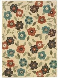 ivory brown fl outdoor rug round grey