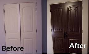 Painted closet doors Brown Update Inexpensive Closet Doors doors faux paint Featured On Remodelaholiccom Pinterest Update Inexpensive Closet Doors doors faux paint Featured On