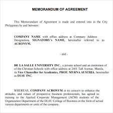12 Sample Of Memorandum Of Agreement Between Two Parties
