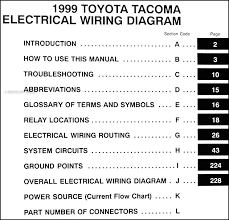 1999 toyota tacoma pickup wiring diagram manual original covers all 1999 toyota tacoma models including short bed xtra limited prerunner this book measures 11 x 8 5 and is 0 44 thick