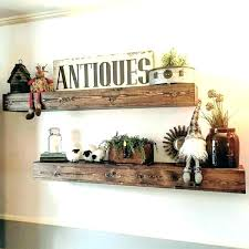 dark wood shelves floating reclaimed rustic wall thick individual she