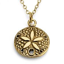 necklaces gold plated necklace sand dollar flower double sided save loading zoom