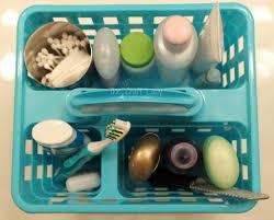dollar bathroom organizing put your everyday essentials in a caddy for easy access
