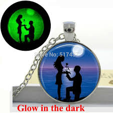 glow in the dark necklace silhouette couple on beach necklace moon beach enement art photo glowing jewelry gifts for in pendant necklaces from