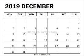 Blank December Calendar 2019 Monday Start 2019 Calendar Calendar
