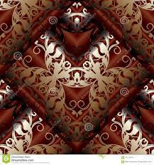 Modern 3d Barok Naadloos Patroon Bloemen Donkerrode Achtergrond W