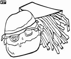 Hamburger E Patatine Fritte Da Colorare E Stampare