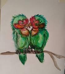 татуировка в акварели неразлучник попугайчики вечная любовь тоту