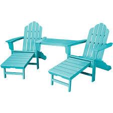rio aruba blue 3 piece all weather plastic patio lounge adirondack chair set with