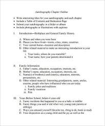 Autobiography Outline Template 8 Free Sample Example