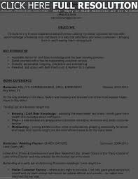 Bartender Sample Resume Resume Work Template