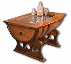 Coffee Table, Elegant Brown Rectangle Unique Rustic Wood Whiskey Barrel  Coffee Table With Storage Design ...