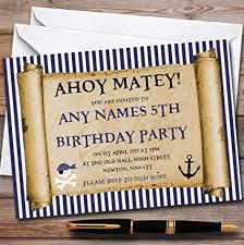 Scroll Birthday Invitations Amazon Com Blue Stripes Pirate Scroll Childrens Birthday Party