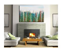 large salvia flower painting zen field blossoms green blue red white original art floral artwork wall on red white wall art with large salvia flower painting zen field blossoms green blue red white