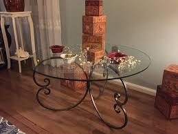 handmade forged iron round glass coffee