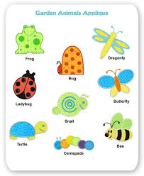 garden animals. Garden Animal Embroidery Applique Designs Frog Butterfly Ladybug Snail Bee Bug Dragonfly Animals A