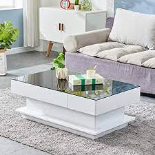 Accent your living room with a coffee, console, sofa or end table. Amazon Com Homesailing Modern Living Room Coffee Table Black With 2 Storage Drawers Large Wooden Sofa End Table With Glass Tabletop High Gloss Wood Frame Coffee Table For Office Waiting Reception Furniture Kitchen