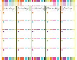 Monday Through Friday Blank Calendar Spring Stripes