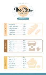 Cafe Menu Template Simple Bakery Menu Template