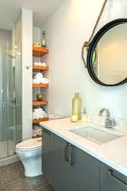 shelves in bathroom ideas built open shelving shower contemporary with orange round wall storage small