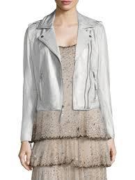 joie leolani metallic leather biker jacket silver women s jackets vests faux joie shorts merci retailer