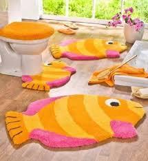 5 piece bathroom rug sets kids colorful orange pink fish bath rug sets inspiringly awesome