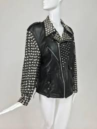 black vintage heavily studded black leather motorcycle jacket mens small for