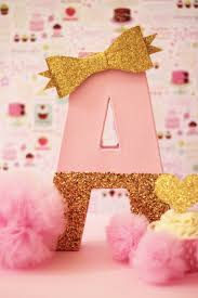 Pink and Gold Party Decor Cake Table Letters by Pretty Little Party Co.  prettylittlepartyco.