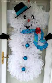 deco mesh snowman door wreath