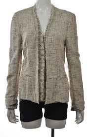 w118 walter baker womens blazer size l white tweed cotton long sleeve jacket