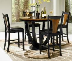 ... Dining Tables, Amusing Light Brown Round Modern Wooden Counter Height Dining  Table Set Stained Design ...