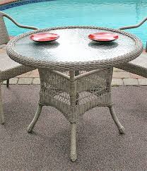 resin wicker dining table 36 round driftwood