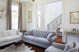 gray velvet tufted sofa view full size