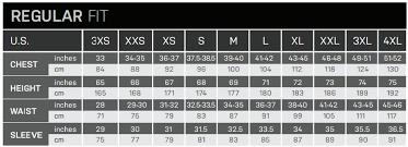 46 Regular Size Chart Descente