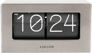 karlsson retro boxed flip clock small steel image 2
