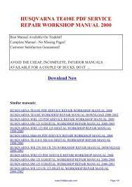 husqvarna te410e pdf service repair