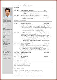 International Resume Format Doc Elegant Resume Vitae Sample