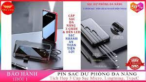 Pin Sạc Dự Phòng Đa Năng Màn hình Đèn LED, Tích Hợp 3 Cáp Sạc Micro, Lin...
