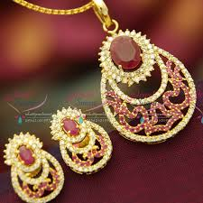 ps3704 ruby white cz sparkling gold plated fancy diamond finish pendant earrings