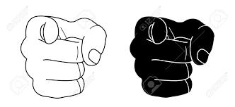 人差し指で拳します輪郭線を黒いシルエット白で隔離ベクトル クリップ アート イラスト