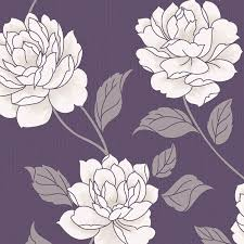 Purple Flower Wallpaper For Bedroom Colours Ella Purple White Floral Wallpaper The Ojays The