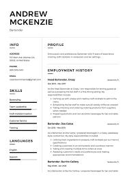 Bartending Resume Samples Bartender Resume Sample 12 Creative Resume