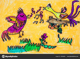 childs watercolor painting of birds singing photo by dndavis