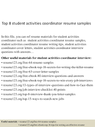 Activities Resume Custom Top 28 Student Activities Coordinator Resume Samples