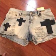 Blu Pepper Size Chart Blu Pepper Vintage Denim Shorts With Crosses Nwt