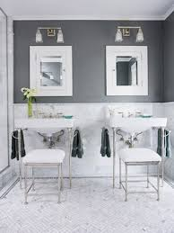 bathroom white subway tile with dark floor. The Bathrooms Mix Traditional Carrara Flooring With A Modern Subway Tile. Master Will Feature Chair Rail Height Grey Tile Throughout Bathroom White Dark Floor