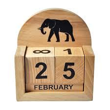 desktop perpetual calendar with elephant motif desktop perpetual calendar with elephant motif